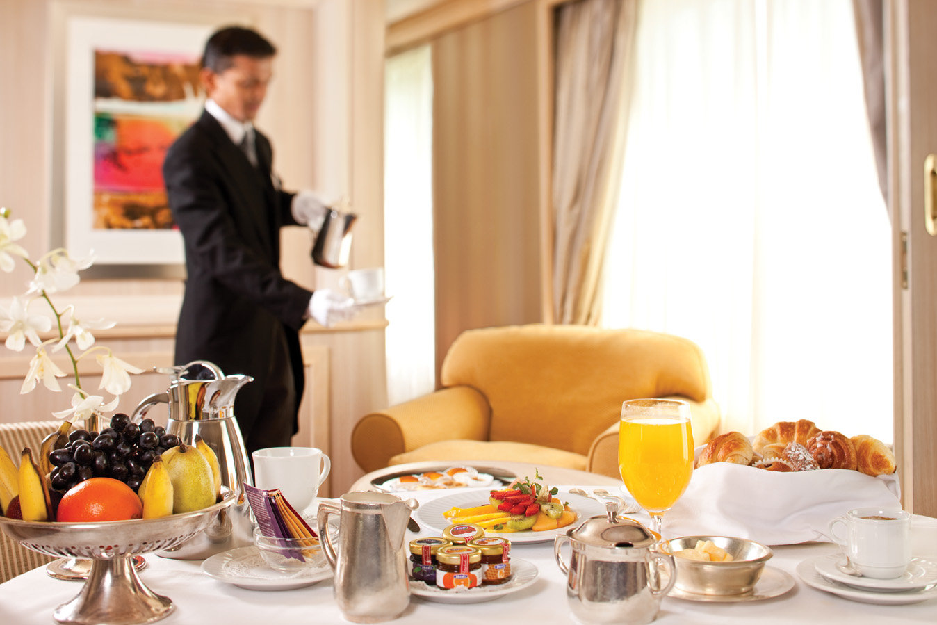 Butler Breakfast in Suite - Room 741 - Deck 7 Midship Silver Wind - Silversea Cruises